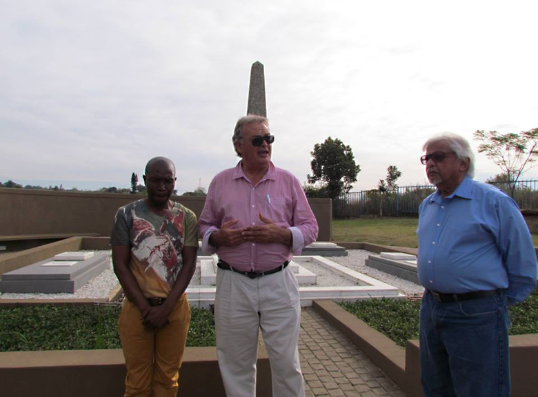 Greg Garson, tour guide, with Mandla Nxumalo and Dr Arun Gandh