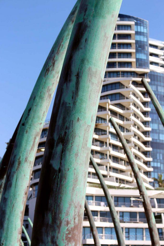 Whale-bone pier Umhlanga. Pearls in backgournd