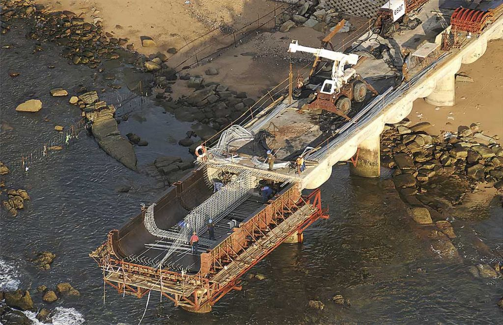 Whale-bone pier under construction